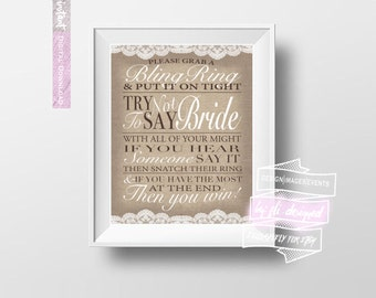 Bling Ring - Don't Say BRIDE! - Bridal Shower Game Directions - Burlap & Lace *DIGITAL DOWNLOAD*