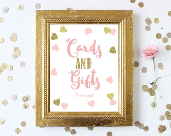 Cards and Gifts Baby Shower Sign Printable . Gift Table Sign . 8x10 Instant Digital Download . Pink and Gold Glitter Hearts Baby Shower