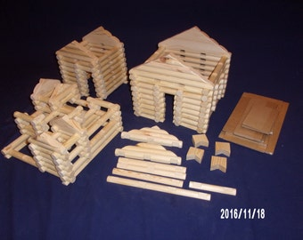 Handmade 'Lincoln Logs' 206 piece set in handy tote bag