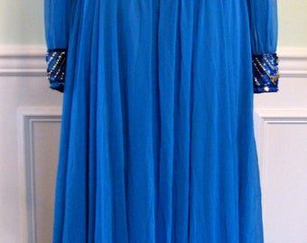 1960s Gown Costume Blue Beaded 1960s Victoria Royal Ltd. British Crown Colony MidCentury Beaded Gown Chiffon