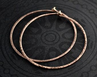 Rose Gold Hoops - Rose Gold Filled Hammered Hoop Earrings - Gold Hammered Hoops Rose Gold Earrings