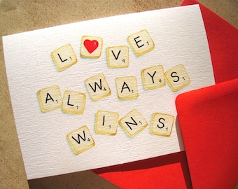 Scrabble Valentine Card - Valentines Day Card - For Scrabble Player, Word Lover - I Love You Card - Anniversary Card