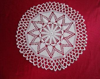 Beautiful white cotton doily handmade