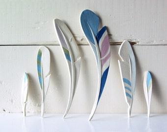 Feathers. Six Ceramic Feathers. Hand-Built. With Color.