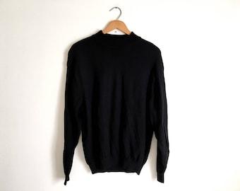 Black Merino Wool Mock Turtleneck Sweater Italian Pullover Sweater Preppy Sweater Grunge Boyfriend Sweater Long Sleeve Chunky Turtleneck XL