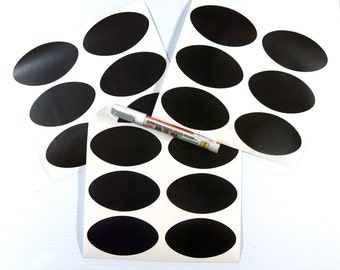 Cohas Chalkboard Labels in Large 2 by 3.5 Inch Oval Shape includes Fine Tip Liquid Chalk Marker and 18 Labels