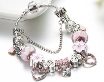 Heart Charm Bracelet For Women Silver Color White Glass Beads Bracelets 20cm