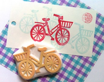 bicycle rubber stamp | bike stamp | cycling lovers | diy gift wrapping | birthday card making | gift for her | hand carved by talktothesun