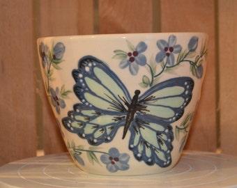 Butterfly Flower Vine Porcelain Yarn Bowl