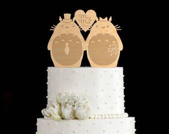 Totoro wedding cake topper,totoro cake topper,totoro wedding topper,my neighbor totoro topper,my neighbor totoro wedding cake topper,6362017