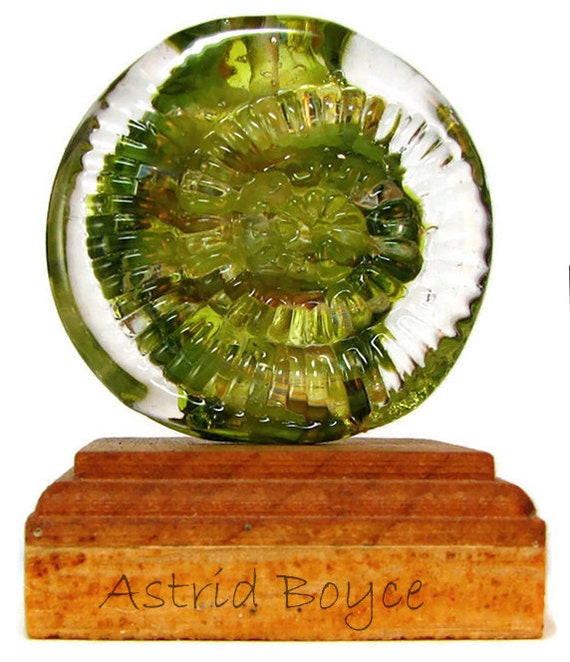 Olive Explosion Ammonite Artisan Lampwork Focal Bead -Blended green shades and Italian silver w/raised ammonite design for wonderful sparkle