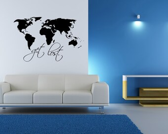 World map outline decal large world map wall decal wall world map wall decal get lost wall art home decor living room gumiabroncs Choice Image