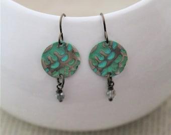 Small Earrings, Dainty Earrings, Crystal Earrings, Vintaj Earrings, Bohemian Earrings, Brass Earrings, Decorative Earrings, Boho Jewelry