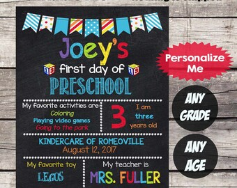 First Day of PRESCHOOL Sign First Day of School sign First Day of School Chalkboard Printable Personalized Back to School Sign ANY GRADE #7