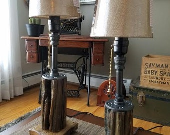 Lamps of Black Pipe, 1800s Fence Post and Barn Wood