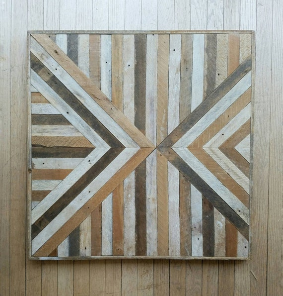 Reclaimed Wood, Wall Art, Geometric, Pattern, Triangle, Inverted, Lath 30 x 30, Wall Decor