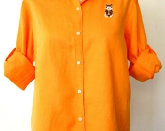 80s / 90s Linen Shirt / Bright Goldenrod Linen Shirt / Embroidered Kitten Shirt / CAT CLUB Shirt