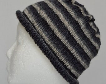 Knitted Wool hat for Teens, Womens Knit Hat, Rolled Brim Beanie, Knit Striped Hat, Wool Beanie, Gray Striped Hat, Boyfriend Hat