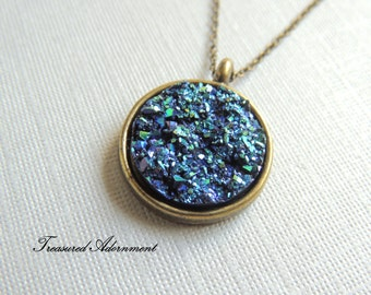 Druzy Necklace, Resin Metallic Druzy Round, Vintage Style Necklace, Galaxy Necklace, Gift for Mom, Mother's day gift, Thank you gift for her