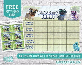 Printable Puppy Dog Pals Potty Chart, FREE Punch Cards | Disney Junior | Digital JPG File, Instant download, Files are NOT Editable