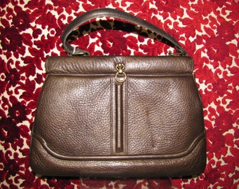 HANDMADE Purse / by ZENITH / 1960's Vintage Brown LEATHER Bag / Mod 60s Purse