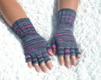 Hand-knitted half finger gloves, gray and pink wool half finger gloves,handmade wool gloves,knit winter gloves, hand knit women's gloves