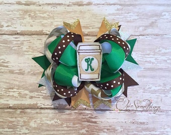 coffee bow, cappuccino bow, coffee cup bow, coffee headband, coffee bow, coffee costume, baby coffee headband, baby star coffee headband