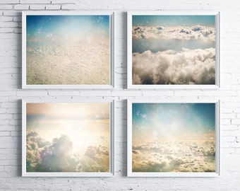 Ascension - FOUR PHOTO SET, cloud photography, cloud nursery decor, photos of clouds from an airplane, dreamy, surreal, pastel blue cream