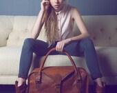 Le Vagabond 30 : Vintage style brun cuir fourreau polochon week-end Sac carry extra-large sur vol bagages womens unisexe