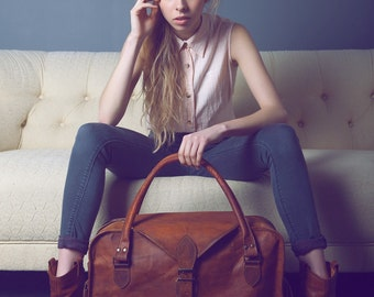 The Vagabond 30: Vintage style brown leather holdall duffel weekend bag extra large carry on flight luggage unisex womens
