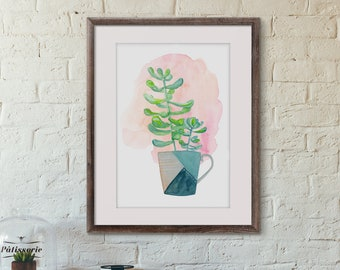 Watercolor Painting of Potted Plant - Succulent in Mug - Housewarming Gift - Gift for Hostess - Gift for Her