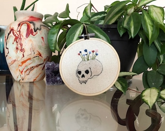 Hand Embroidered Skull