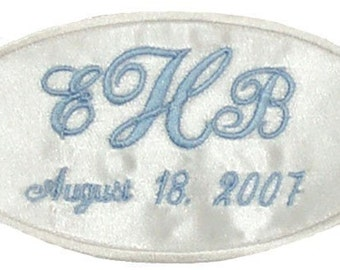 RUSH STATUS --- Erica Satin Wedding Dress Name Label Custom Embroidered and Personalized