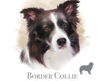 "BORDER COLLIE Dog with Phrase on One 18"" x 22"" Fabric Panel to Sew. Actual picture is 10"" x 10.5"" on white background."