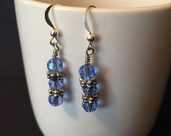Blue glass amd metal accent earrings