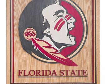 3D Handmade Wood Art - Florida State Seminoles