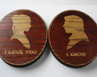 I love You; I know. Princess Leia and Han Solo laser cut wooden sign. Star Wars Inspired Wood Sign.