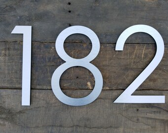 12'' Modern House Numbers Brushed Aluminum Stud Mounted Metal Address Numbers And Letters Minimalist Contemporary