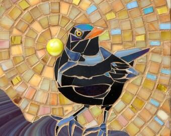 Blackbird Card - Blank Greetings Card - Mosaic Art - Blackbird Art - Birthday Card - Raven Art - Forest Print - Crow Art Mosaic Blackbird