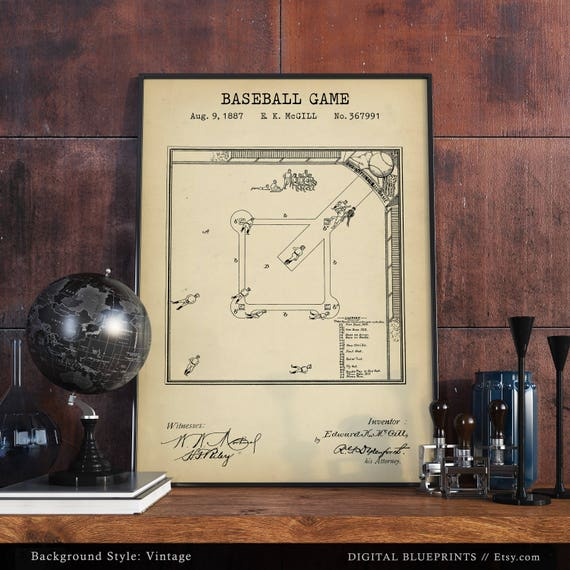 Baseball Game Field Blueprint Art Patent Prints Digital Download Fan Gifts Sports Room Decor Boys Wall MLB