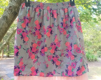 Upcycled Midi Floral Skirt