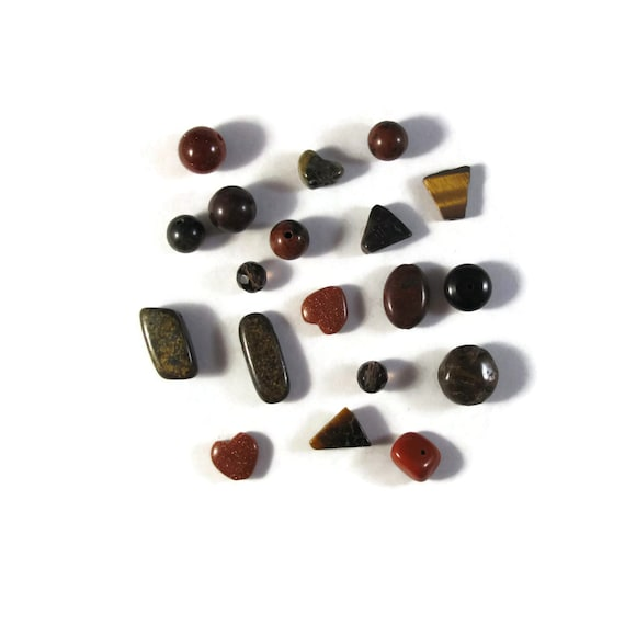 Brown Gemstone Bead Mix, Gemstone Grab Bag, 19 Beads for Making Jewelry, Assorted Shapes and Sizes (L-Mix6a)