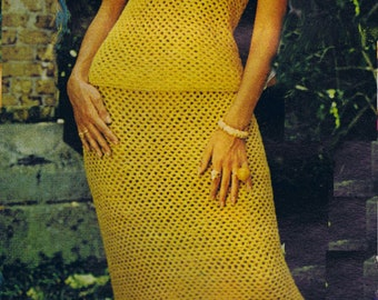 PDF Crochet Pattern Two Piece Fiesta Dress Size 8-14 Vintage Skirt Blouse Reproduction Instant Digital 1970's PDF e-Pattern Instant Download