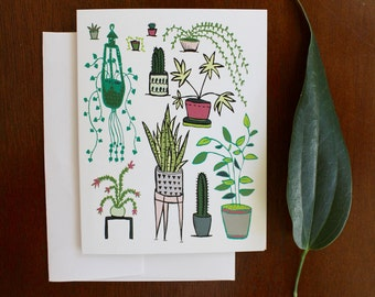 Greeting Card - Houseplants - plants, succulent, cacti, cactus, illustration, home, green, tropical, plant, nature, gift