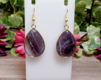 Amethyst Teardrop Earrings - Gemstone Earrings - Goldtone - Purple earrings - Amethyst Slab
