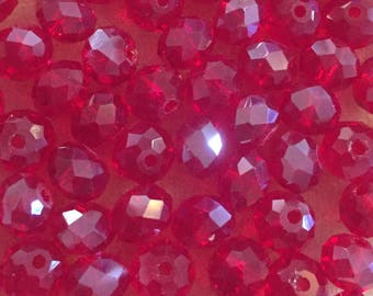 35 x faceted glass 8mm abacus red beads