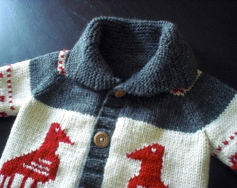 Children's Sweater, Wool Cowichan Style, Custom Made, Eagle Motif, Sizes 6-12 mos, 2 years