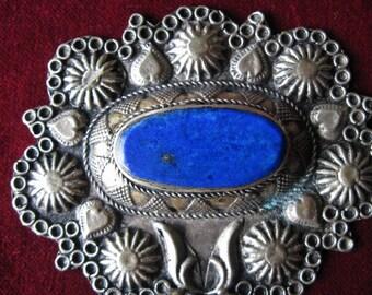 Afghan Lapis Pendant Silver Toned Relief Decor