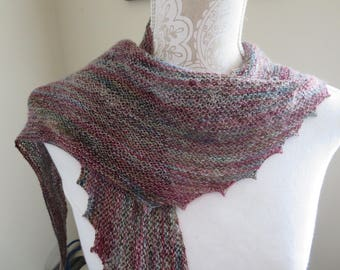 Hand knit shades of turquoise, blues, pinks, purples, and grey hitchhiker scarf
