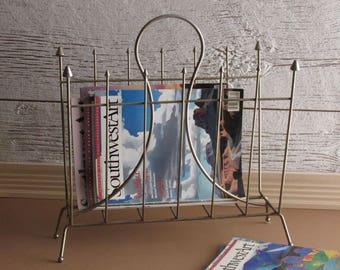 mid century magazine rack - gold finish - mcm